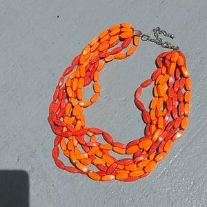 Orange  fashion  beaded 8 strand  necklace
